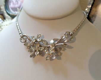 "Gorgrous Vintage Crown Trifari ""Alfred Philippe"" Design Clear Floral Rhinestone Necklace"