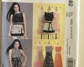 McCall's 5882 Summer Dress Pattern, Empire Waist Dress Pattern,  Kay Whitt Pattern, Top Pattern Size 4-12