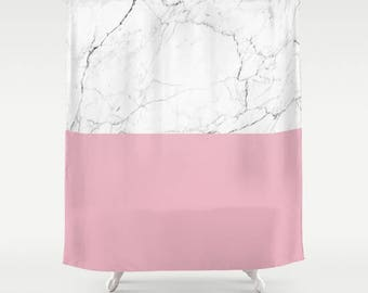 Blush Pink White Marble Shower Curtain Girls Bathroom Blush Marble White Marble Bathroom Curtain Marble Pattern emerald Marble Print Decor
