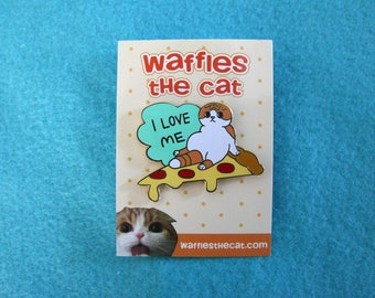 I Love Me Cute Cat Pizza Enamel Pin