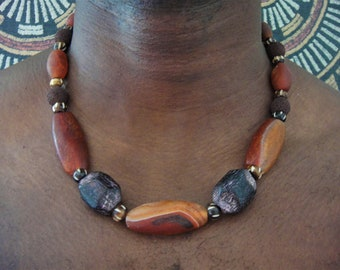 Mens Tribal Choker African Agate Coconut Wood Beads Gemstone Choker Chunky Stones Carved Bone Gemstone Necklace African Jewelry Men