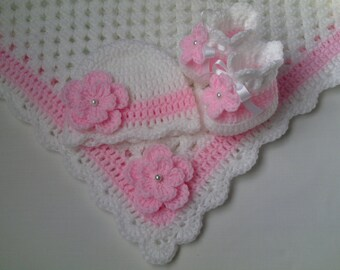 Crochet Baby Blanket, Hat and  Booties Set gift christening baptism girl baby pink flower afghan baby shower gift