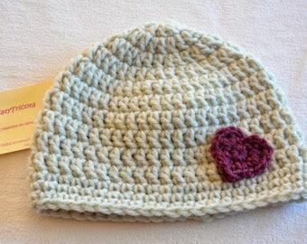 Baby 3-12 months wool hat gray little plum heart is hand crochet