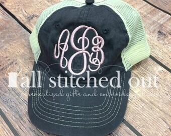 Monogrammed Trucker Hat - Master Circle Font - Personalized Trucker hat - Personalized Mesh hat - Monogrammed ball cap - Mesh back hat