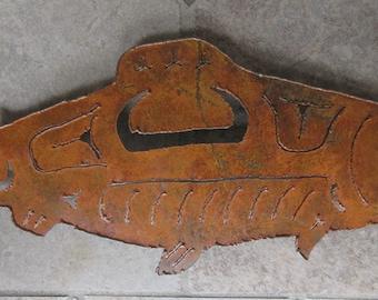 Salmon Fish in Pacific Northwest Indian Art Style, Metal Sculpture, Fish Art, Salmon Art, Indian Art, Wall Art, Lodge Art