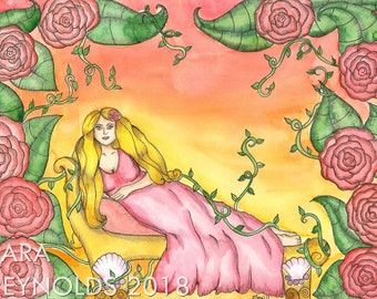 Goddess Aphrodite Art Print Goddess Art Pagan Art Fantasy Art Painting Greek Goddess Mythology Sacred Feminine Art Spiritual Art Altar