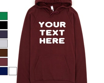 Custom Made 5495 American Apparel California Fleece Pullover Hoodie Vinyl or Glitter Print Customized Available in all colors