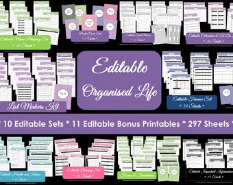 EDITABLE Household Binder Printables Home Binder Cover Organisation Family Planner Day Planner Pdf Chevron Printable Perpetual Planner
