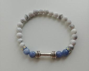 6mm Howlite with aquamarine fitness motivation bracelet