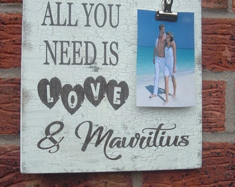 All you need is love personalized place country wedding photo plaque sign  8x8 inch
