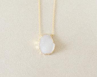 White Druzy Necklace - Gold Necklace - Pendant Necklace - Druzy Jewelry
