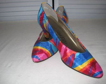 vintage Colorful Silk Pumps by Life Stride  size 7 1/2 N