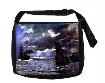Claude Monet's Seascape At Night Black School Shoulder Messenger Bag