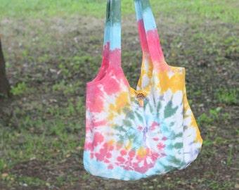 Tie dye cotton tote bag , Indigo bag , Shibori Bag-B026