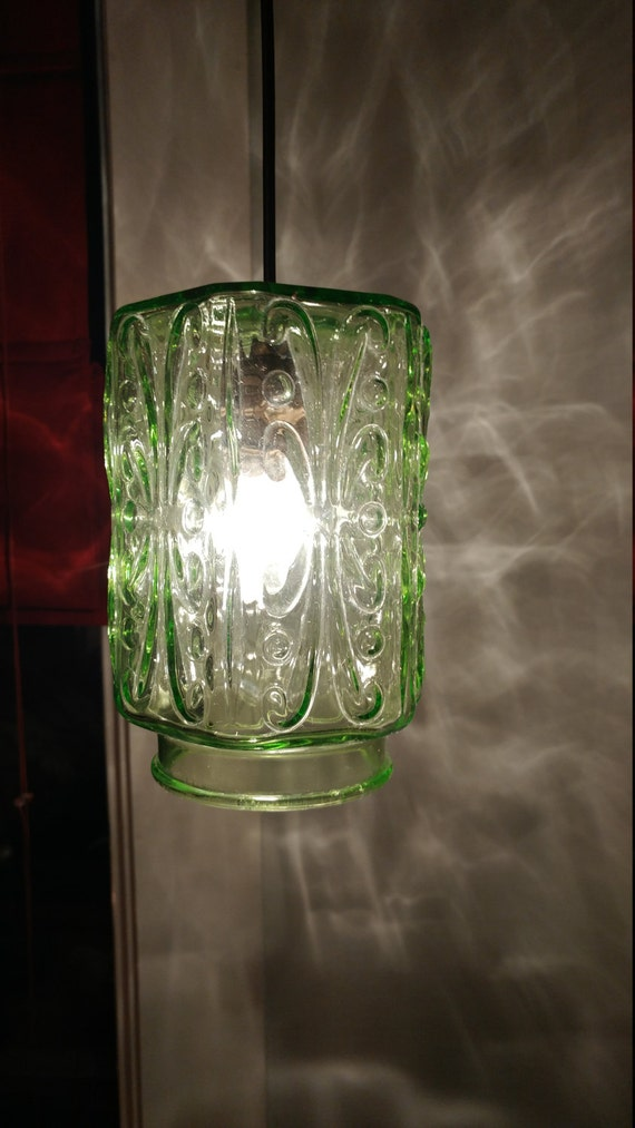 Green Glass Canister light