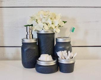 Rustic Farmhouse Mason Jar Decor, Bathroom