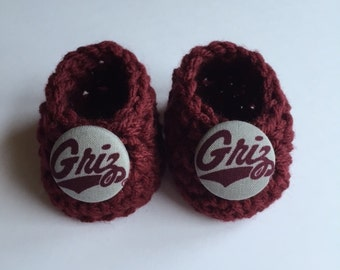 Montana Grizzlies baby booties, baby booties, infant shoes, crochet baby booties, booties for baby, crochet baby shoes