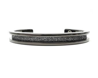 Hair Tie Bracelet, Hair Tie Bracelet Holder - Glitz Design Black