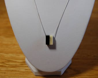 Buffalo Horn and Camel Bone Black and White Necklace with Silver Chain