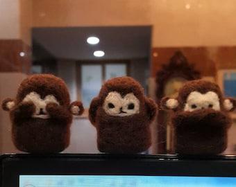 Needle felted monkeys ornament and keyrings!