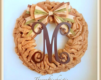 Fall Wreath-Burlap Fall Wreath-Fall Wreath Front Door-Burlap Wreath-Monogram Fall Wreath-Front Door Wreath-Autumn Wreath-Thanksgiving Wreath