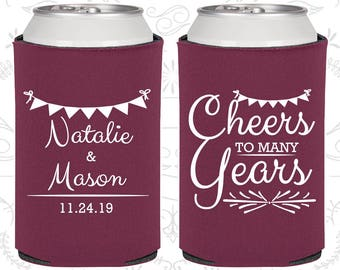 Cheers to Many Years, Wedding Party Gifts, Couples Shower Gift, Spring Wedding Gift, Coolies (327)