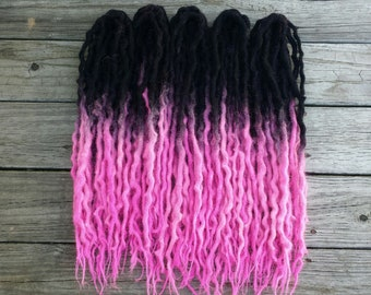 Full Set (50 DE) Black Pink Wool Dreads Dreadlocks ~Choose Length~