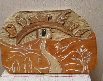 Path to the unknown / Hand carved decorative abstract eye,  scenery wood carving also hand painted original design on beech wood