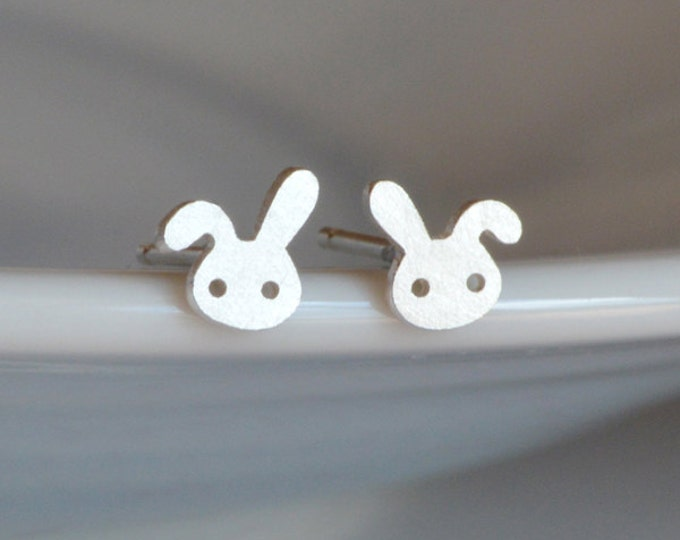 Bunny Rabbit Earring Studs With Floppy Ear, The Mini Version Handmade In Sterling Silver
