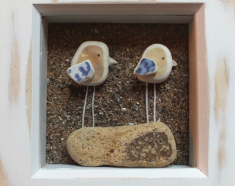 Scottish Sea Pottery Birds Picture - Bird Lovers Gift - Birdwatcher Gifts - Wedding Present - Anniversary Gift - Mother Baby Gift - 3D Art