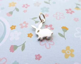 Tiny Sterling Silver Bunny Charm Little Rabbit Charms (CNA1528a)
