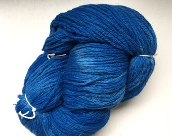 Handspun Hand Dyed Soft Wool Bulky Yarn Blue 150 Yards 5.8 oz