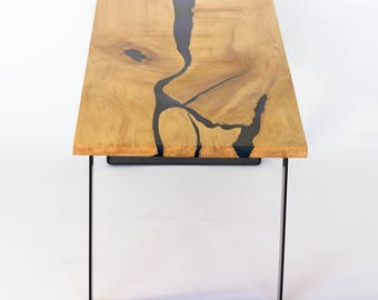River Coffee Table, Unique Coffee Table, live edge table, live edge, epoxy river table, reclaimed table, modern, hairpin legs
