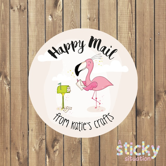 Personalized happy mail stickers happy post stickers packaging stickers etsy seller stickers small business stickers mailing labels