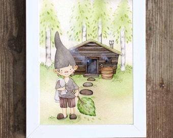 Sauna Elf, Sauna Print, Sauna Illustration, Sauna wall decor, Finland, Elf