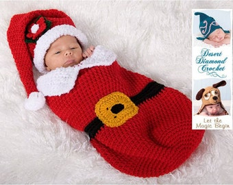 Santa Baby Cocoon and Hat Set - Photography Prop