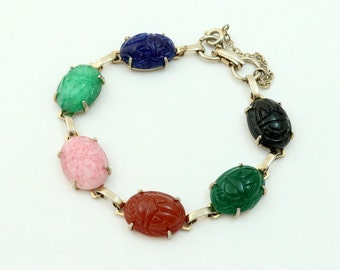 Vintage Scarab Bracelet, Molded Glass Scarab Beetles, Egyptian Revival Jewelry