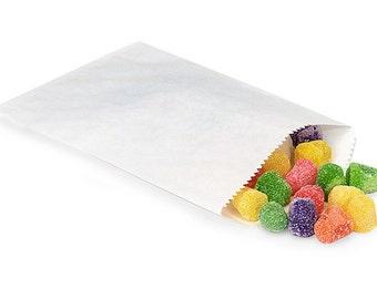 40 White Kraft Flat Paper Bags,   4 x 6 Inches,  Wedding DIY, Candy Buffet Bags, Favor Bags  Merchandise Bags,