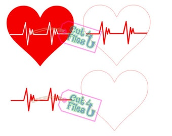 Nurse RN Heartbeat in Heart 4 Designs: PNG, SVG cut files for vinyl, paper, fabric, etc. for Cameo, Cricut, and other cutters