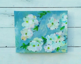 Dogwood painting, white flower painting, 8x10 floral, impressionistic white floral art, Shirley Lowe, southern flowers, Easter gift
