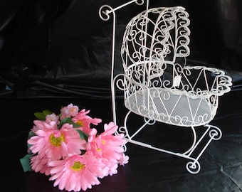 Antique Wire Baby Carriage   - Great for Baby Shower Table Decorations or Christening