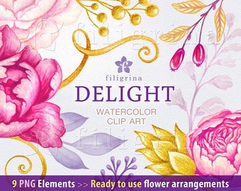 Pink Flowers arrangements WATERCOLOR Clip Art. Wedding bouquet, gold leaves, floral garland, wreath. 9 PNG elements. Read about usage