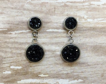 Black Druzy Drop Dangle Earrings 8mm 12mm Stainless Steel Black Druzy Drop Dangle Earrings Black Drop Earrings Gifts for Her Black Earrings