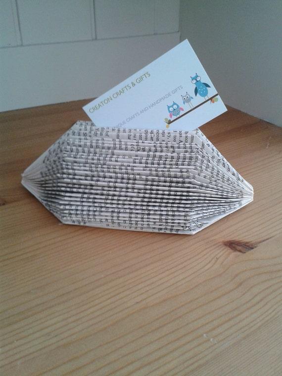 Book art folded business card holder unusual unique handmade colourmoves