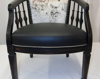 Black, cat, Upcycled Furniture, Upholstered Vintage Chair, Repurposed
