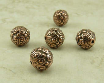 5 TierraCast Ornate Casbah Round Beads > Exotic Bali Style - Copper Plated Lead Free Pewter - I ship internationally 5626