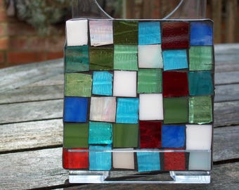 stained glass coaster mosaic style