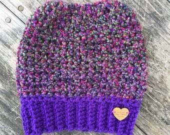 Messy Bun Beanie, Messy Bun Hat, handmade crochet messy bun beanie