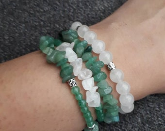 Green Beaded Bracelet set for women , beads bracelet for her ,  Quartz bracelet , Gift for her , 4 bracelet set , Rose quartz Bracelet
