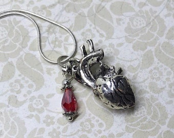 Red Anatomical Heart Necklace Heart Burgundy Sparkling Glass Beads Charm Pendant Love Science Medicine Cardio Cardiologist Gift BD066